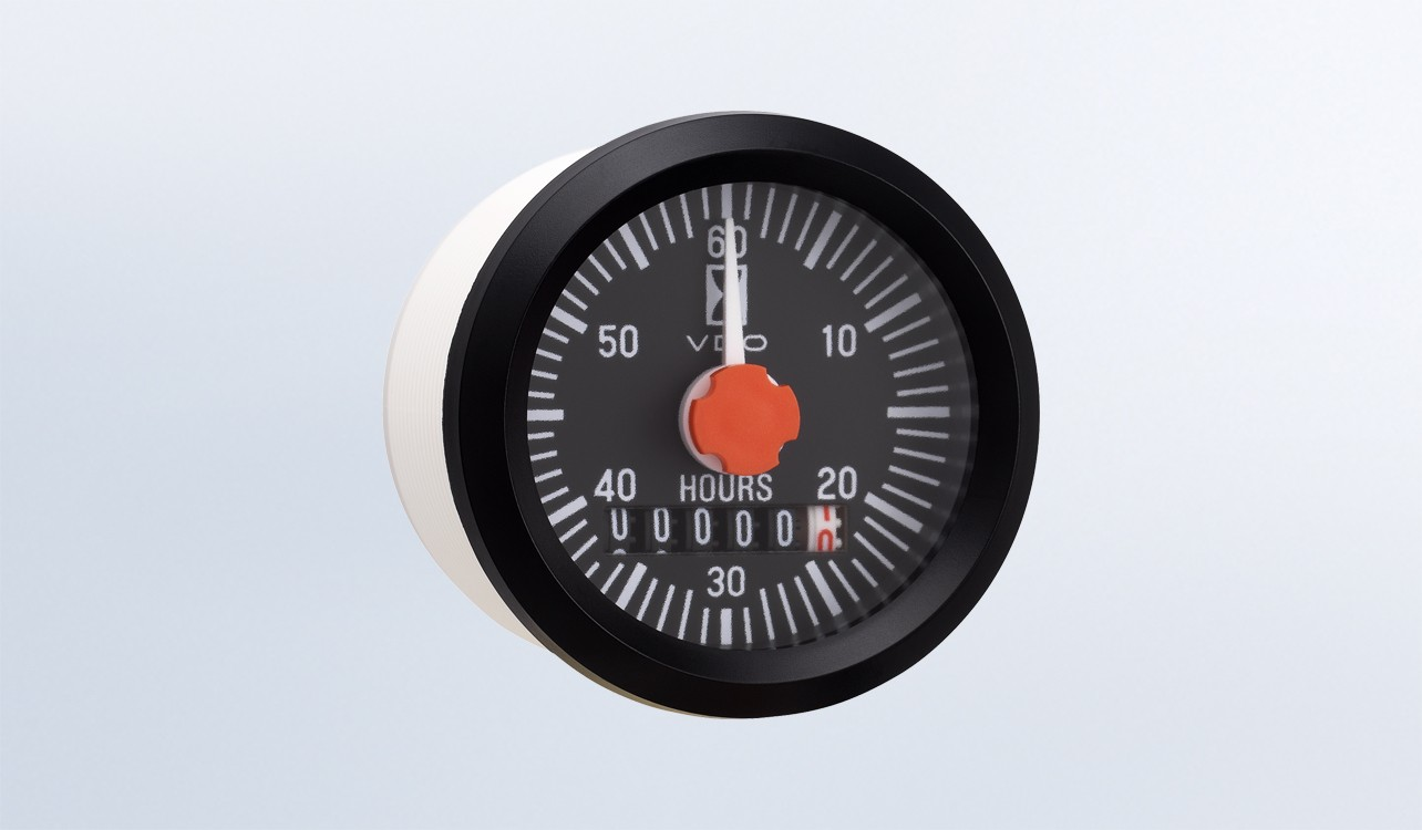 """Universal 2 1/16"""" (52mm) Round Hourmeter, 100K Hours, LED Illumination. Features Minute Hand.  12/24V.  OEM 10 Pack"""