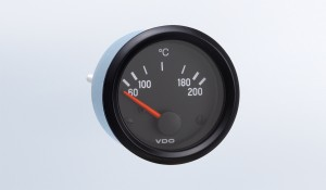 "Cockpit International 200°C  Temperature Gauge, Use with VDO Sender, 12V, .250"" Spade Connection"