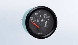 "Cockpit International 120°C Water Temperature Gauge, Use with VDO Sender, 12V, .250"" Spade Connection"