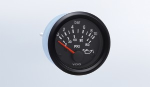 "Cockpit International 10 bar/150 PSI Oil Pressure Gauge, Use with VDO Sender, 24V, .250"" Spade Connection"