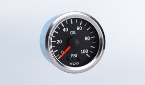Vision Chrome  100 PSI Mechanical Oil Pressure Gauge with Tubing Kit and Metric Thread Adapters, 12V