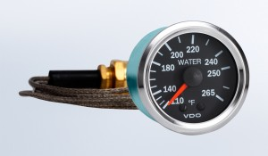 """Vision Chrome   265°F Mechanical Temperature Gauge with 72"""" Capillary, 12V"""