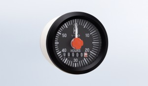 "Universal 2 1/16"" (52mm) Round Hourmeter, 100K Hours, LED Illumination. Features Minute Hand.  12/24V.  OEM 10 Pack"